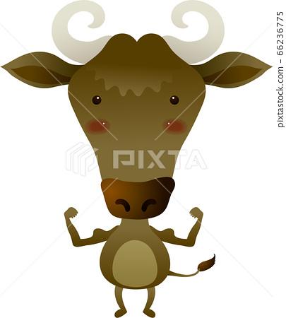 牛羚站起來,舉起手來,面朝上的插圖 66236775