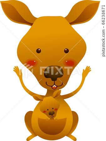 站立用他的手的袋鼠的例證與他的正面飾物 66238671