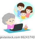 Grandmother have a video call chat with her family 66243740