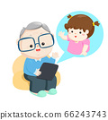 Grandfather online video call with little 66243743