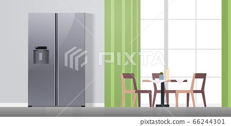 side by side refrigerator in modern kitchen interior home appliance concept horizontal flat 66244301