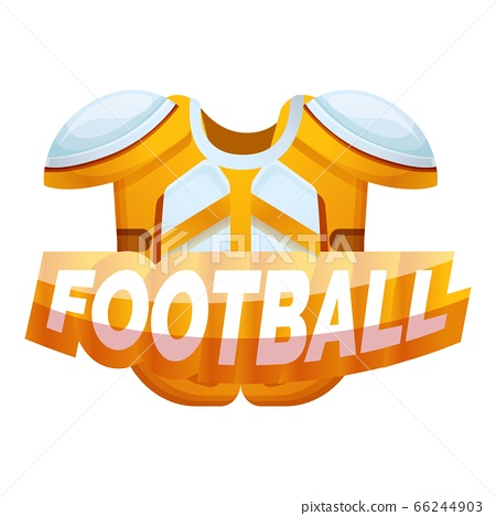 American football protective equipment logo, cartoon style 66244903