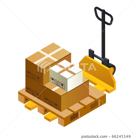 Warehouse lift parcel icon, isometric style 66245149