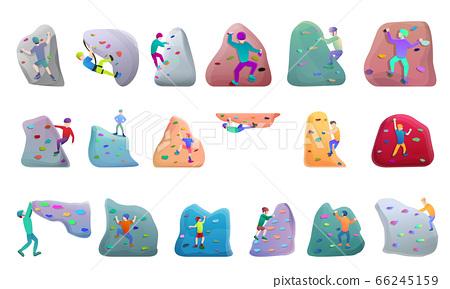 Sport climbing icons set, cartoon style 66245159