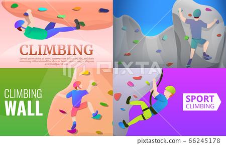 Sport climbing banner set, cartoon style 66245178