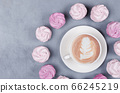 Hot coffee with pink marsmallow on gray background St. Valentine Day concept 66245219