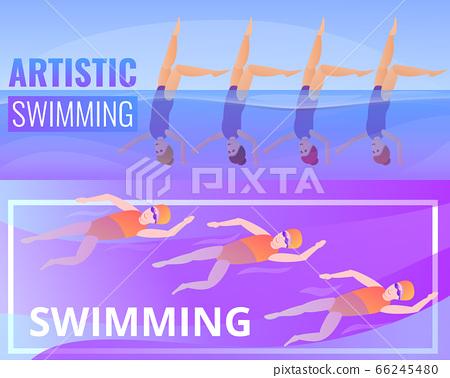 Artistic swimming banner set, cartoon style 66245480