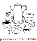 Doodle breakfast outline vector illustration 66246568