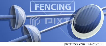 Fencing concept banner, cartoon style 66247598