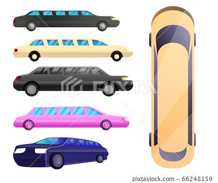 Limousine icons set, cartoon style 66248159