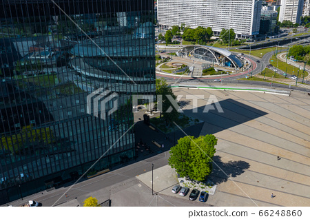 Aerial photo of Spodek arena complex and modern city center of Katowice, Upper Silesia. Poland. 66248860