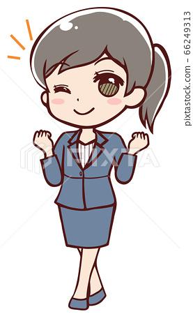 一個努力工作的動畫女性上班族 66249313