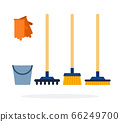 Bucket, gloves, rakes and brushes for cleaning flat isolated 66249700
