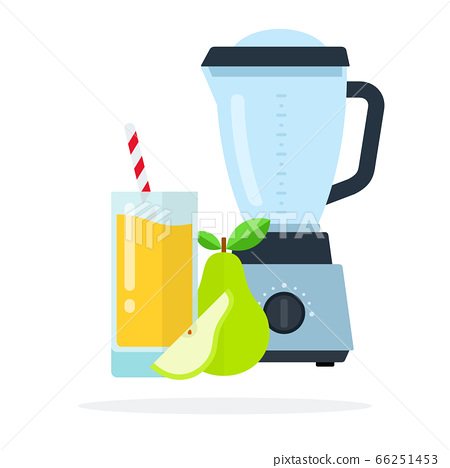 Blender, a glass of pear juice, whole pear and a piece of pear vector flat isolated 66251453
