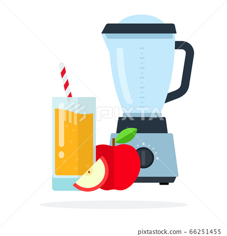 Blender for fruit, apple juice in a glass with straws and a red apple near flat isolated 66251455