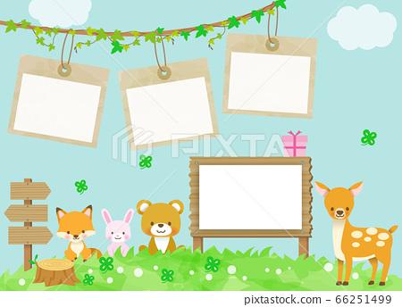 귀여운 동물들의 집합 (프레임 배경 수) 사슴 · 여우 · 토끼 · 곰 어린이 66251499