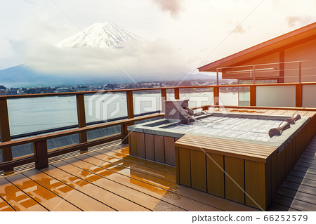 Japanese open air hot spa onsen with view of the 66252579