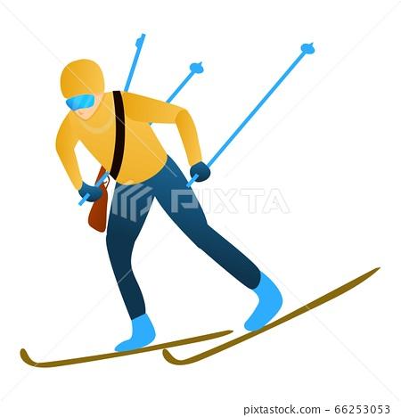 Ski biathlon icon, cartoon style 66253053
