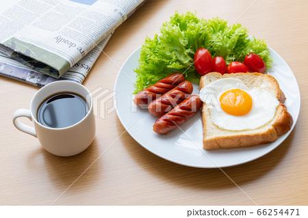 모닝 세트 아침 이미지 커피 신문 66254471