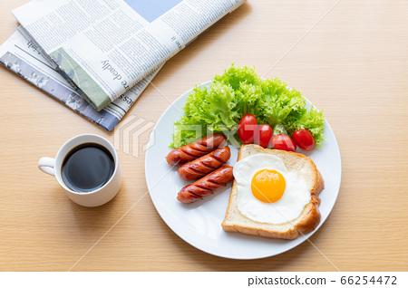 모닝 세트 아침 이미지 커피 신문 66254472