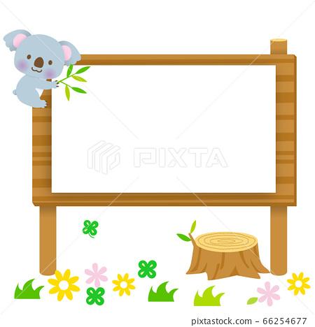 與可愛的考拉爬上一個標誌的花卉背景 66254677