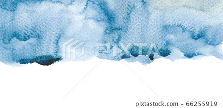 Indigo Blue watercolor background with splash abstract modern illustration banner. Wide wallpaper with grunge texture. 66255919