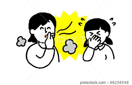 담배를 피우는 여성과 연기와 냄새를 싫어하는 여자 (간단) 66256548