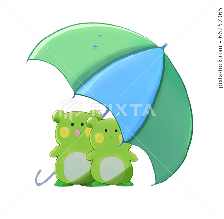 Two frogs staying under the umbrella 66257065