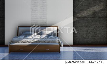 loft and modern bedroom interior design, 3d render image 66257415