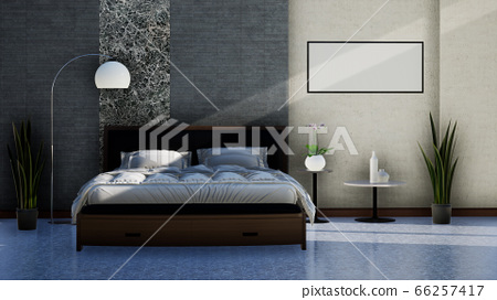 interior design of a modern bedroom with double bed, 3D rendering background 66257417