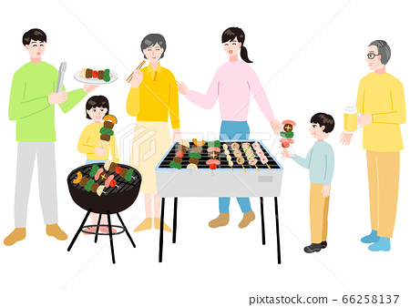Three generation family barbecuing 66258137