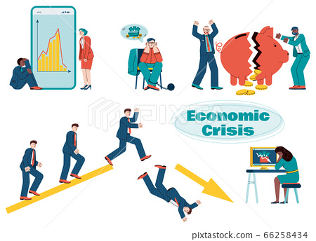 A set of vector illustrations on the theme of the economic crisis. 66258434