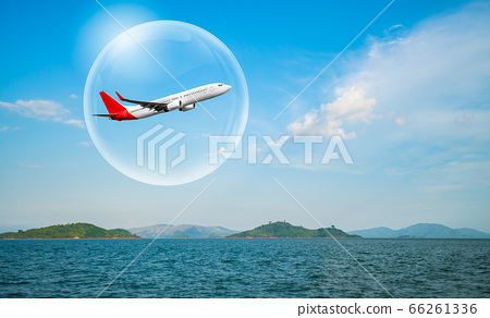 Airplane traveling in bubble representing 66261336