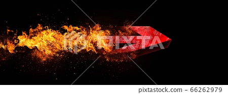 폭발하는 빨간색 화살표 [검정 배경] 66262979
