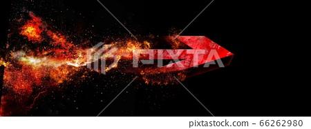 폭발하는 빨간색 화살표 [검정 배경] 66262980