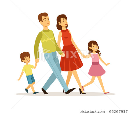 Cartoon family. Mother father children walking together. Isolated parents with son and daughter. Parenthood, young woman man girl and boy vector characters 66267957