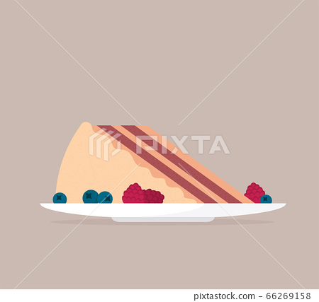 Flat vector cheesecake isolated on color 66269158