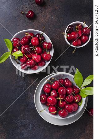 Top view of sweet fresh cherry 66271237
