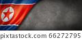 North Korean flag on concrete wall banner 66272795