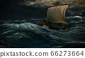 Viking ship in the storm 66273664
