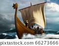 Viking ship on the sea 66273666