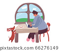 cartoon businessman sitting infront of his laptop at home during quarantine. 66276149