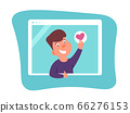 Funny caucasian teenager showing heart sign and thumb up. 66276153