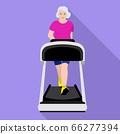 Senior woman treadmill icon, flat style 66277394