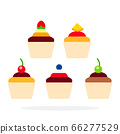 Cup cake with berries vector flat material design isolated object on white background. 66277529
