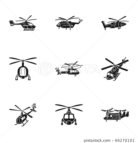 Helicopter transport icon set, simple style 66278181