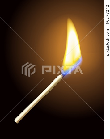 Realistic burning match on dark background 66278242