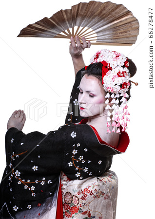 young pretty geisha in kimono with sakura and 66278477