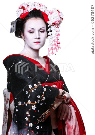 young pretty geisha in kimono with sakura and 66278487