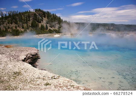 blue turquoise geyser pond, Yellowstone 66278524